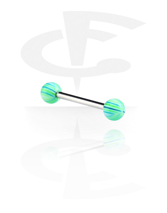 Činky, Barbell with Multistriped Beach Balls, Surgical Steel 316L, Acryl