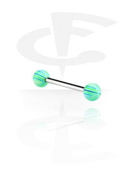 Barbell, Barbell con Multistriped Beach Balls, Chirurgico acciaio 316L, Acryl
