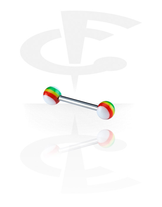 Činky, Barbell with New Rasta Balls, Surgical Steel 316L, Acryl