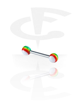 Barbellit, Barbell with New Rasta Balls, Surgical Steel 316L, Acryl