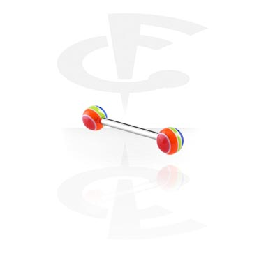 Barbellit, Barbell with Pop Layer Balls, Surgical Steel 316L, Acryl