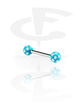 Barbells, Steel Barbell with Threaded Star Balls, Surgical Steel 316L, Acryl