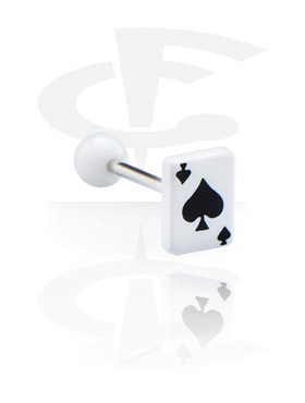 """Šipkice, Barbell with Playing Card """"Spades"""", Surgical Steel 316L, Acryl"""