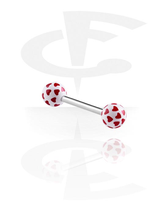 Činky, Činka – hrací karty - srdce, Surgical Steel 316L, Acryl