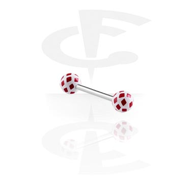 """Sztangi, Barbell with Playing Card """"Diamonds""""-Balls, Surgical Steel 316L, Acryl"""