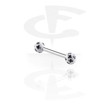 """Sztangi, Barbell with """"Clubs""""-Balls, Surgical Steel 316L, Acryl"""