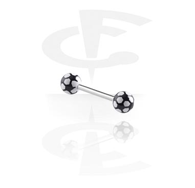 """Šipkice, Barbell with """"Soccer""""-Balls, Surgical Steel 316L, Acryl"""
