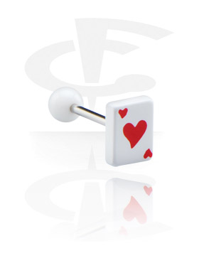 """Sztangi, Barbell with Playing Card """"Hearts"""", Surgical Steel 316L, Acryl"""