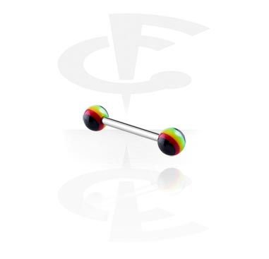 Šipkice, Barbell with Rasta Balls, Surgical Steel 316L, Acryl
