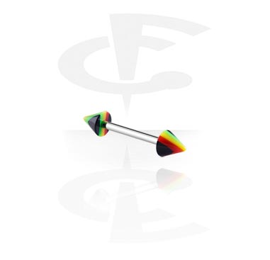 "Sztangi, Barbell with ""Rasta""-Cones, Surgical Steel 316L, Acryl"