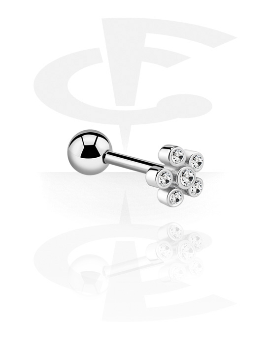 Barbells, Barbell with flower attachment and crystal stones, Surgical Steel 316L