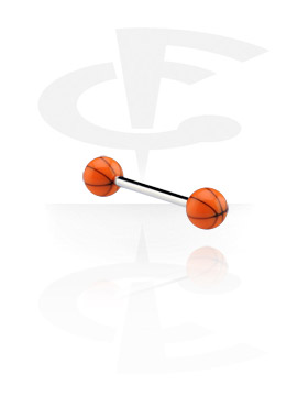 Šipkice, Barbell with Basketballs, Surgical Steel 316L, Acryl