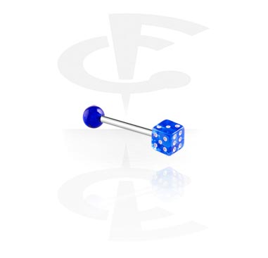 Šipkice, Barbell with Dice, Surgical Steel 316L, Acryl