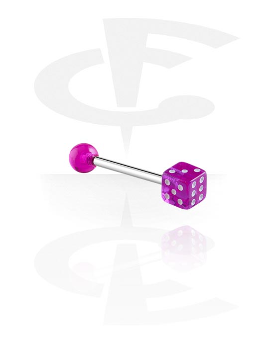 Činky, Barbell with Dice, Surgical Steel 316L, Acryl