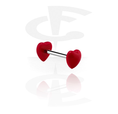Barbells, Barbell with heart attachment, Surgical Steel 316L, Acrylic