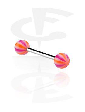 """Barres, Barre avec boules """"multistriped"""", Acier chirurgical 316L, Acryl"""
