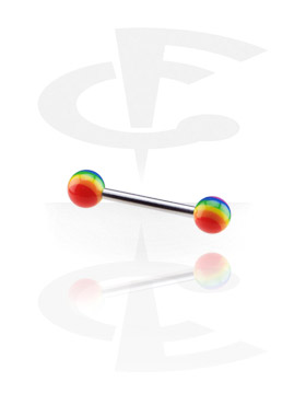 Barbells, Barbell with Threaded Rainbow Balls, Surgical Steel 316L, Acryl