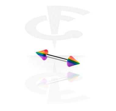 Barbells, Barbell con Conos arco iris, Acero quirúrgico 316L ,  Acrílico