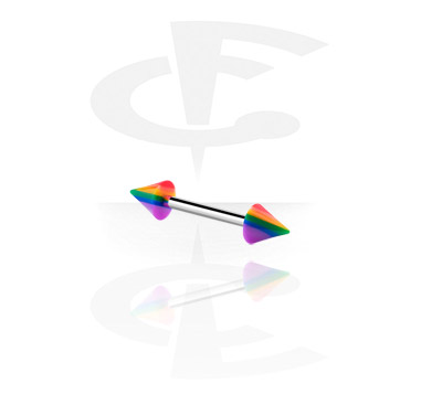 Barbells, Barbell with rainbow cones, Surgical Steel 316L ,  Acrylic