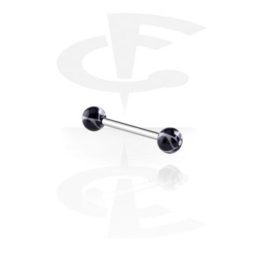 Barres, Barbell avec New Twister Flower Balls, Acier chirurgical 316L, Acryl