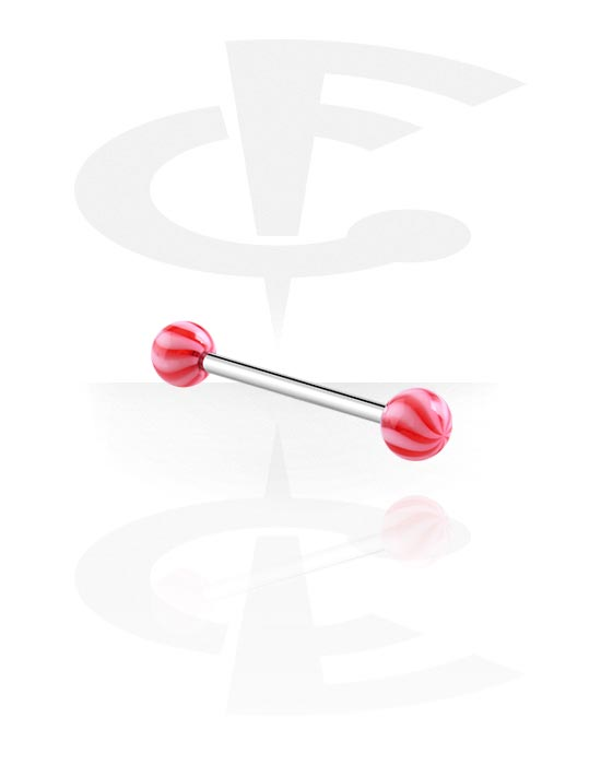 Činky, Barbell with Twister Balls, Surgical Steel 316L, Acryl