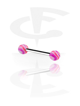 Barbellit, Barbell with Wave Candy Balls, Surgical Steel 316L, Acryl