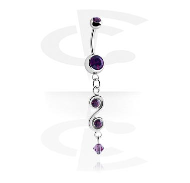Curved Barbells, Banana with Jewelled Balls and Charm, Surgical Steel 316L, Plated Brass