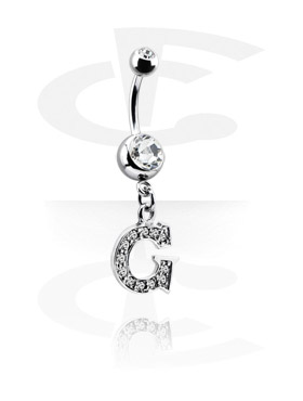 Banaanikorut, Banana kanssa jewelled balls ja charm, Surgical Steel 316L, Plated Brass