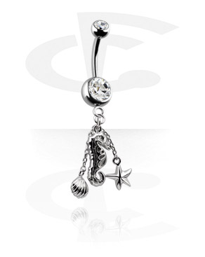 Zahnuté činky, Banana s jewelled balls a charm, Surgical Steel 316L ,  Plated Brass