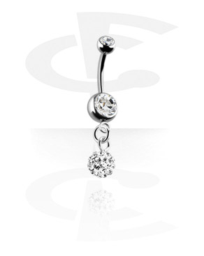 Banany, Banana z jewelled balls i charm, Surgical Steel 316L, Plated Brass