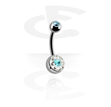 Zaobljene šipkice, Crystaline Double Jeweled Navel Banana, Surgical Steel 316L