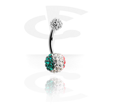 Curved Barbells, Crystaline Double Jeweled Navel Banana, Surgical Steel 316L