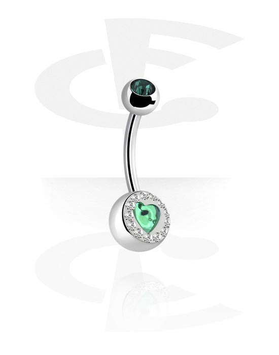 Zahnuté činky, Banana s crystal stones a Heart Design, Chirurgická ocel 316L