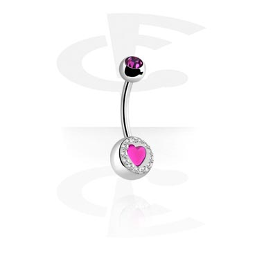 Curved Barbells, Crystaline Heart Double Jeweled Navel Banana, Surgical Steel 316L