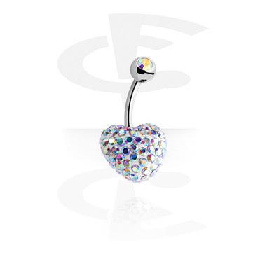 Zaobljene šipkice, Crystaline Heart Double Jeweled Banana, Surgical Steel 316L