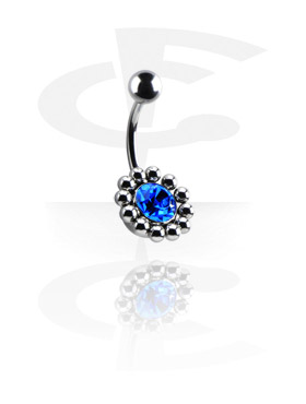 Curved Barbells, Jeweled Flower Banana, Surgical Steel 316L