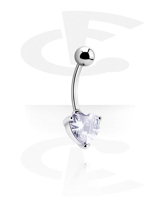 Internally Threaded Curved Barbell With Crystal Heart Surgical