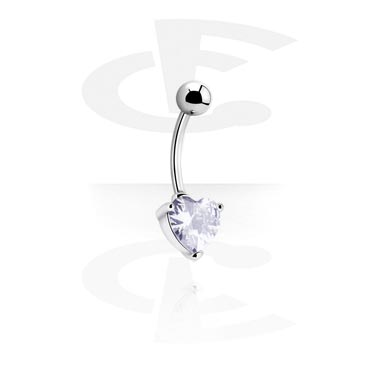 Curved Barbells, Internally Threaded Curved Barbell with Crystal Heart, Surgical Steel 316L