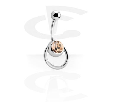 Jewelled Curved Barbell with Ring