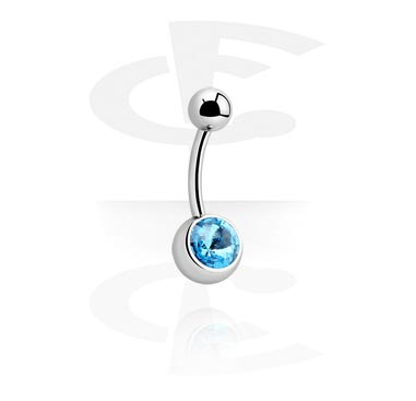 Curved Barbells, Curved Barbell with Rivoli Stone, Surgical Steel 316L