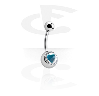 Curved Barbells, Crystaline Heart Jeweled Navel Banana, Surgical Steel 316L