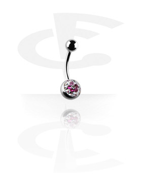 Curved Barbells, Curved Barbell with Flower Glitzy Ball, Surgical Steel 316L