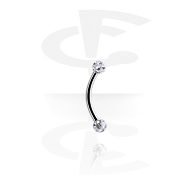 Curved Barbells, Banana with Jewelled Balls, Surgical Steel 316L