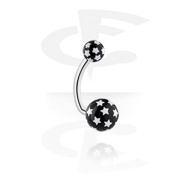Curved Barbells, Banana with Star Print Balls, Surgical Steel 316L, Acryl