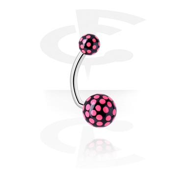 Curved Barbells, Curved Barbell, Surgical Steel 316L, Acryl