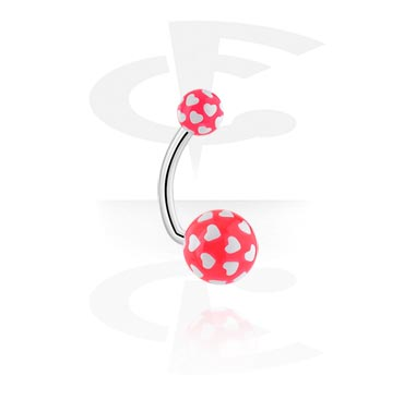 Curved Barbells, Curved Barbell with Heart Print, Surgical Steel 316L, Acryl