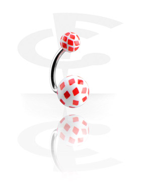 Curved Barbells, Banana with Diamonds Playing Card Balls, Surgical Steel 316L, Acryl
