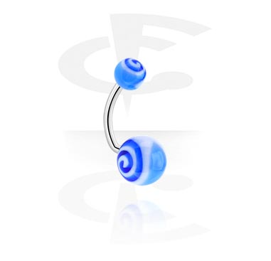"""Curved Barbells, Curved Barbell – """"Spiral"""", Surgical Steel 316L, Acryl"""