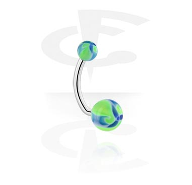 Curved Barbells, Navel Banana with Flower Balls, Surgical Steel 316L, Acryl