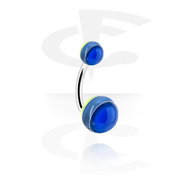 Curved Barbells, Curved Barbell with Layer Balls, Surgical Steel 316L, Acryl